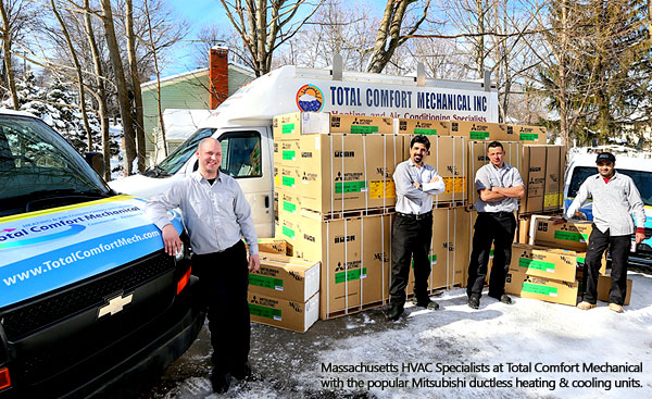 Massachusetts HVAC Specialists at Total Comfort Mechanical with the popular Mitsubishi ductless heating & cooling units.