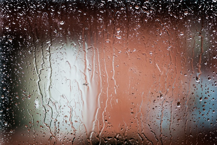 Window condensation due to high humidity.